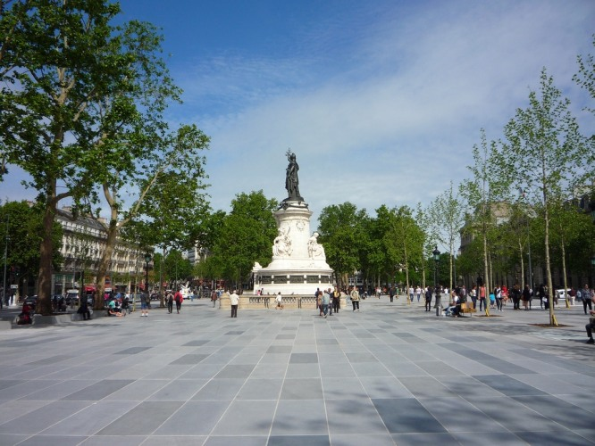 The Place de la République; at the feet of Marianne